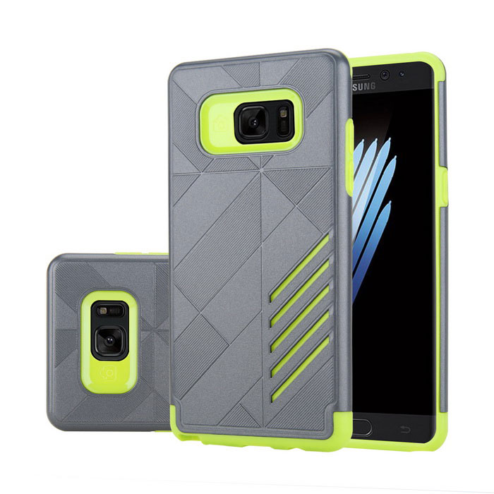 Dual Layer PC + TPU Case for Samsung Galaxy Note 7 - Green + Grey