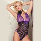 Perspective Sexy One-piece Lace Lingerie - Purple + Black