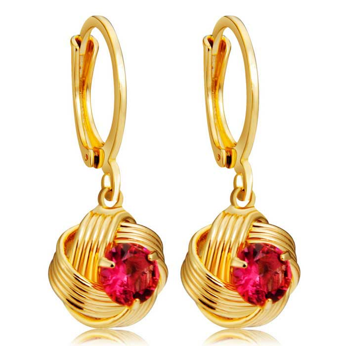 Xinguang Womens Spherical Winding Diamond Crystal Earrings - GoldEarrings<br>Form  ColorGolden + RedModel11142326886701Quantity1 DX.PCM.Model.AttributeModel.UnitShade Of ColorRedMaterialAlloy crystalGenderWomenSuitable forAdultsLength2.5 DX.PCM.Model.AttributeModel.UnitWidth1 DX.PCM.Model.AttributeModel.UnitPacking List2 * Earrings<br>