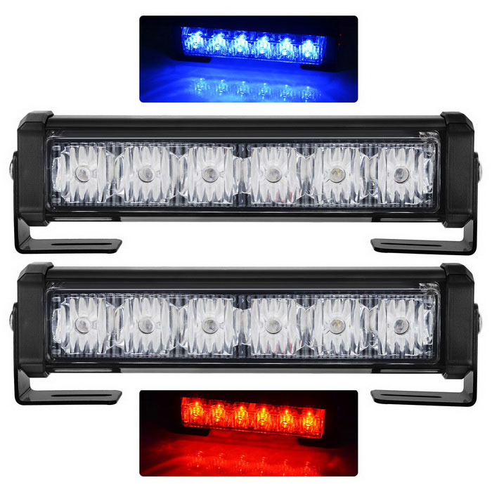 High-intensity 12-LED Blue & Red Strobe Light / Emergency Beacon Light