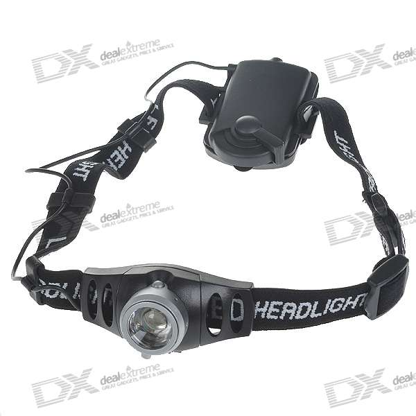 Flood-to-Throw Cree Q3-WC Convex Lens LED Headlamp with Brightness Control Set (3*AAA)
