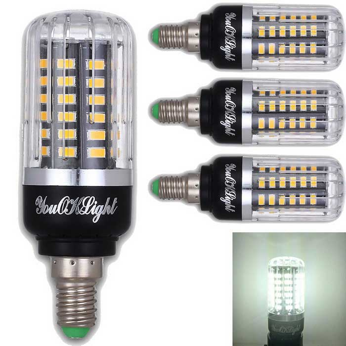 YouOKLight E14 5W 56-SMD 5736 LED Cold White Corn Bulbs (4PCS)