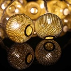 7.64ft LED Warm White 20-LED and Spun Gold Ball Twinkle Light String
