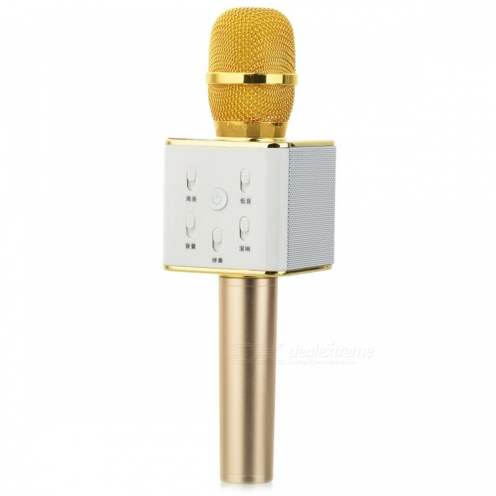 Handheld Mobile Phone Bluetooth KTV Karaoke Microphone - Gold