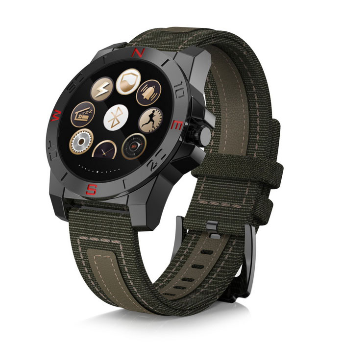 Eastor N10B Bluetooth Waterproof Smart Watch w/ Heart Rate - BlackSmart Watches<br>Form  ColorBlackQuantity1 DX.PCM.Model.AttributeModel.UnitMaterialCanvas + Leather + Stainless steelShade Of ColorBlackCPU ProcessorMTK2501Screen Size1.22 DX.PCM.Model.AttributeModel.UnitScreen Resolution240 * 240 pixelsTouch Screen TypeIPSBluetooth VersionBluetooth V4.0Compatible OSAbove IOS 7.0, Android 4.3 (Only Support Bluetooth 4.0)LanguageEnglish,Russian,Spanish,Polish,Portuguese,Turkish,Italian,French,German,Czech,Hebrew, Indonesia. Finnish, Arab, Persian, Sweden, ThaiWristband Length27.8 DX.PCM.Model.AttributeModel.UnitWater-proofIP67Battery ModeNon-removableBattery TypeLi-ion batteryBattery Capacity270 DX.PCM.Model.AttributeModel.UnitStandby Time7 DX.PCM.Model.AttributeModel.UnitPacking List1 * Smart Watch1 * Charging Cable (15cm)1 * Chinese and English Manual<br>