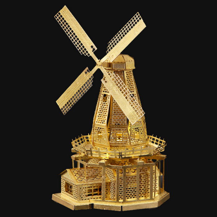 DIY Creative Puzzle Holland Windmill Toy - Gold