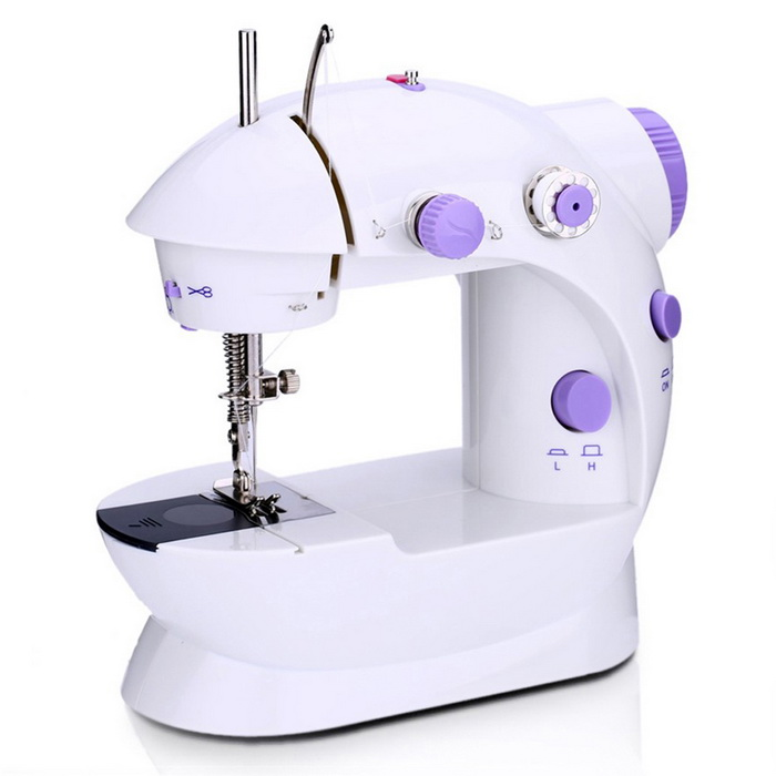 Small Household Electric Sewing Machine - White + Purple
