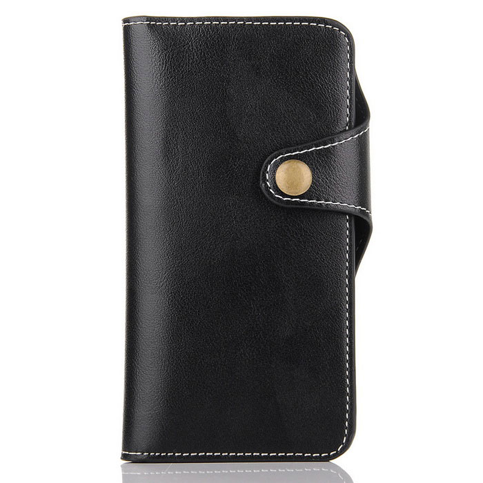 Cow Split Leather Case w/ Card Slots for IPHONE 7 Plus - Black