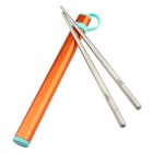 Super Lightweight Round Titanium Chopsticks With Aluminium Case