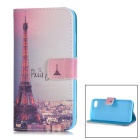 Colored Drawing PU Case w/ Card Slots for IPHONE 7 - Blue + Pink