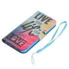 Colored Drawing PU Case w/ Card Slots for IPHONE 7 - Blue + Red