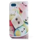 Colored Drawing PU Case w/ Card Slots for IPHONE 7 - White + Pink