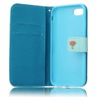 Colored Drawing PU Case w/ Card Slots for IPHONE 7 - White + Blue