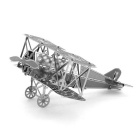 DIY 3D Puzzle Assembled Model Toy Biplane Fighter - Silver