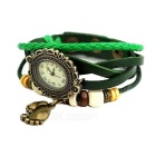 Leather Belt Classical Lady Bracelet Watch - Green + Multicolor
