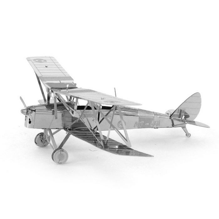 DIY Puzzle 3D Biplane Model Assembled Educational Toy - Silver