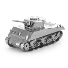 DIY 3D Puzzle Assembled Sherman Tank Model Educational Toy - Silver
