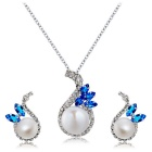 Xinguang Women's Exquisite Inlaid Blue Diamond Pearl Necklace - Silver