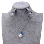 Xinguang mujer exquisita incrustaciones azul diamante perla collar - plata