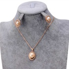Xinguang Women's Elegant Jane Love Pearl Necklace Earrings - Rose Gold