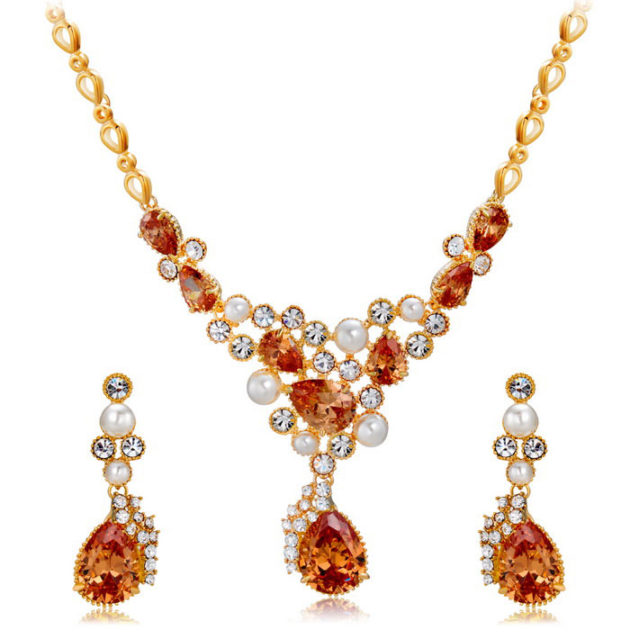 Xinguang Women's Exquisite Bright Crystal Necklace Earrings - Gold