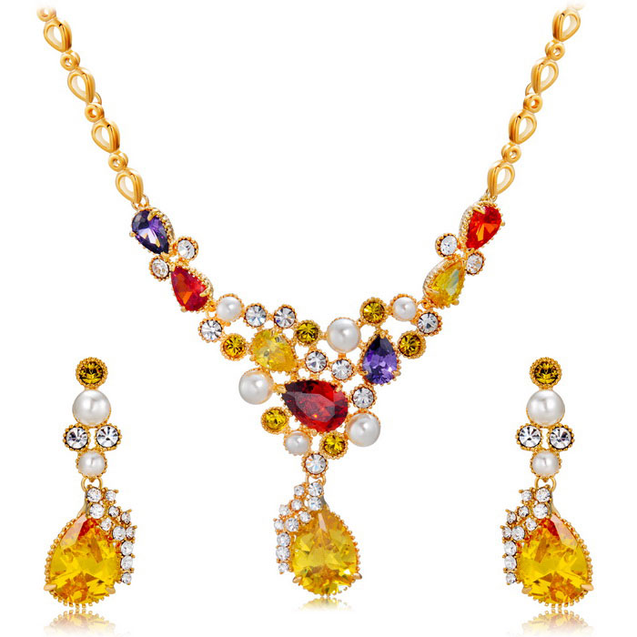 Xinguang Women's Elegant Color Crystal Necklace Earrings - Gold