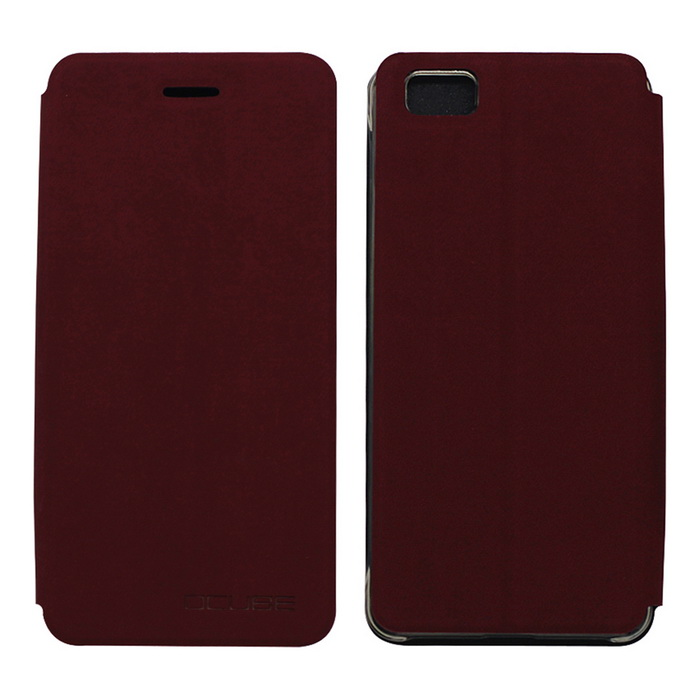 OCUBE PU Leather Case for Ulefone Future Mobile Phone - Wine Red