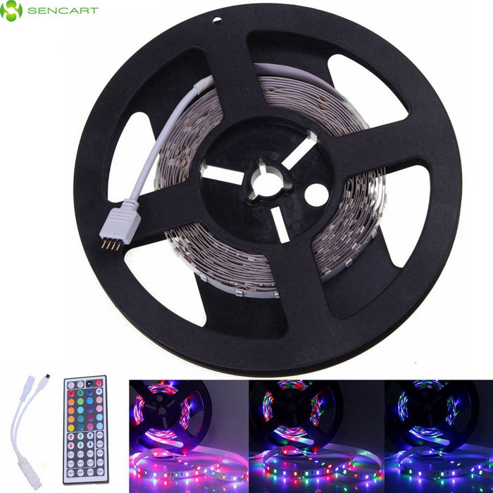 SENCART 5M RGB 24W 3000lm 300-LED Flexible Light Strip / 44 Key RF5630 SMD Strips<br>Color BIN44 Key RGBModelLED Light StripsMaterialPCB + LEDForm  ColorTransparent + White + Multi-ColoredQuantity1 DX.PCM.Model.AttributeModel.UnitPower24WRated VoltageDC 12 DX.PCM.Model.AttributeModel.UnitChip BrandOthers,-Emitter Type5630 SMD LEDTotal Emitters300Wavelength635-700  450-490 490-560Theoretical Lumens12000 DX.PCM.Model.AttributeModel.UnitActual Lumens3000 DX.PCM.Model.AttributeModel.UnitPower AdapterOthers,WiringCertificationCE RoHSOther FeaturesGreen: 490-560nm; <br>Blue: 450-490nm; <br>Red: 635-700nmPacking List1 * 5M RGB Flexible LED Light Strips1 * RGC control box (10cm)1 * Remote control<br>