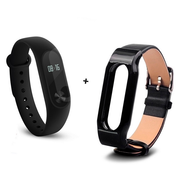 Xiaomi 0.42 Screen Mi Band 2 Smart Wristband + Replace Band - BlackSmart Bracelets<br>Form  ColorBlack + Black (Leather Strap)ModelXMSH04HMQuantity1 pieceMaterialAluminum alloy, thermoplastic elastomerWater-proofIP67Bluetooth VersionBluetooth V4.0Touch Screen TypeYesOperating SystemAndroid 4.4,Android 4.4.1,Android 4.4.2,iOSCompatible OSSupport Bluetooth 4.4 Android 4 above system, iOS7.0 above systemBattery CapacityLithium polymer 70 mAhBattery TypeLi-polymer batteryStandby Time20 daysOther Features0.42 OLED Display Touch Screen?Call reminder, Measurement of heart rate,Pedometer, Sleep management, SMS RemindingPacking List1 * Original Xiaomi Mi Band 2 Smartband1 * Original Wristband1 * Charger cable(15CM)1 * Chinese User Manual1 * Leather Strap(OEM)<br>