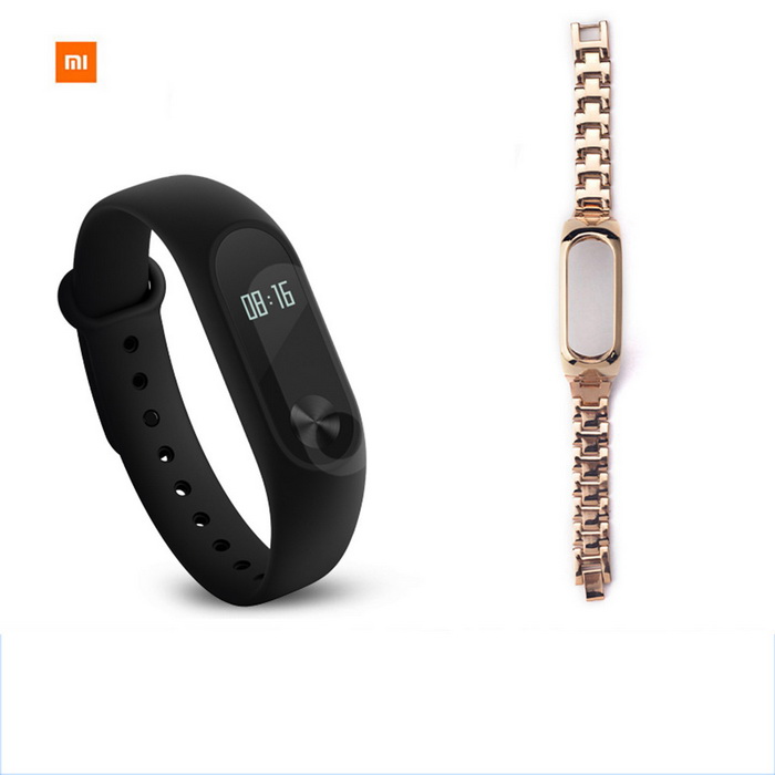 Xiaomi 0.42 OLED Touch Mi Band 2 Smart Wristband w/ Steel Strap -GoldSmart Bracelets<br>Form  ColorBlack + Gold (Steel Strap)ModelXMSH04HMQuantity1 DX.PCM.Model.AttributeModel.UnitMaterialAluminum alloy, thermoplastic elastomerWater-proofIP67Bluetooth VersionBluetooth V4.0Touch Screen TypeYesOperating SystemAndroid 4.4,Android 4.4.1,Android 4.4.2,iOS,-Compatible OSSupport Bluetooth 4.4 Android 4 above system, iOS7.0 above systemBattery CapacityLithium polymer 70 DX.PCM.Model.AttributeModel.UnitBattery TypeLi-polymer batteryStandby Time20 DX.PCM.Model.AttributeModel.UnitOther Features0.42 OLED Display Touch Screen?Call reminder, Measurement of heart rate,Pedometer, Sleep management, SMS RemindingPacking List1 * Original Xiaomi Mi Band 2 Smartband1 * Original Wristband1 * Charger cable(15cm)1 * Chinese User Manual1 * Steel trap(OEM)<br>