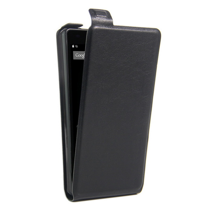 Up-Down Flip Open Protective PU Case for Doogee X6 - Black