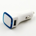 Universal Dual USB Car Cigarette Lighter Charge - White + Blue