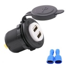 CS-435C1 12~24V Waterproof White Dual USB Car Charger - Black