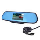 170 Degree 1080P FHD Dual Lens Car DVR Rearview Mirror - Black + Blue