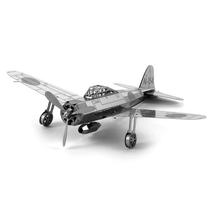 DIY 3DJapanese Zero Fighter Style Puzzle Assembled Model Toy - Silver