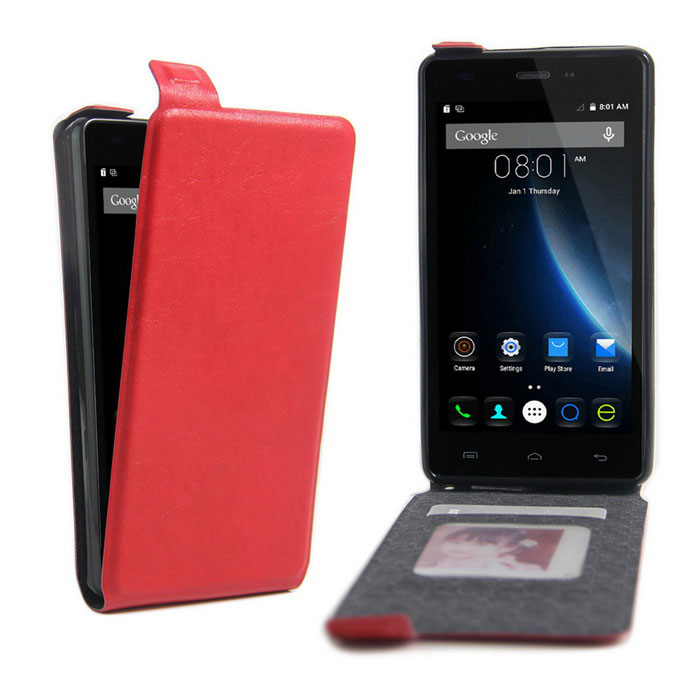 Up-Down Flip Open Protective PU Case for Doogee X5 - Red