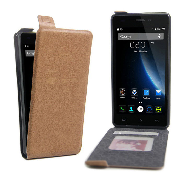 Up-Down Flip Open Protective PU Case for Doogee X5 - Brown