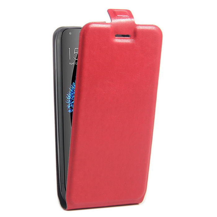 Up-Down Flip Open Protective PU Case for Doogee Y100p Pro - Red