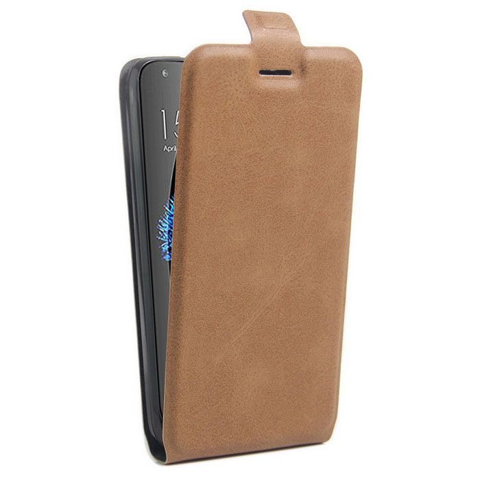 Up-Down Flip Open Protective PU Case for Doogee Y100p Pro - Brown