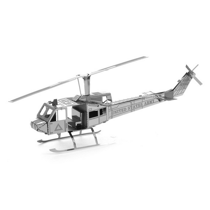 DIY 3D Puzzle Assembled Model Toy Helicopter Huey - Silver