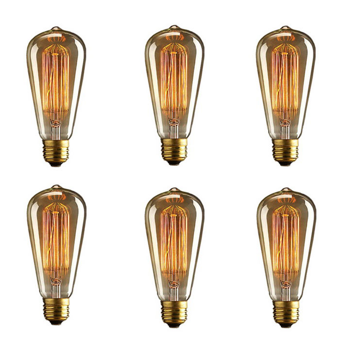 ST64 60W Vintage Dimmable Tungsten Filament Bulb E26 Base (6 PCS)Color BINWarm WhiteModelE26MaterialGlassForm  ColorTranslucent + GoldenQuantity6 DX.PCM.Model.AttributeModel.UnitPowerOthers,60WRated VoltageAC 110-130 DX.PCM.Model.AttributeModel.UnitConnector TypeOthers,E26Emitter TypeOthers,FilamentTotal Emitters1Actual Lumens230 DX.PCM.Model.AttributeModel.UnitColor Temperature12000K,Others,2200KDimmableYesBeam Angle360 DX.PCM.Model.AttributeModel.UnitOther FeaturesDimensions:8.3 in x 5.9 in x 5.7 in(21 cm x 15 cm x 14.5 cm);Item Weight:1.1  <br>lb(499 g)Packing List6 * Bulbs<br>