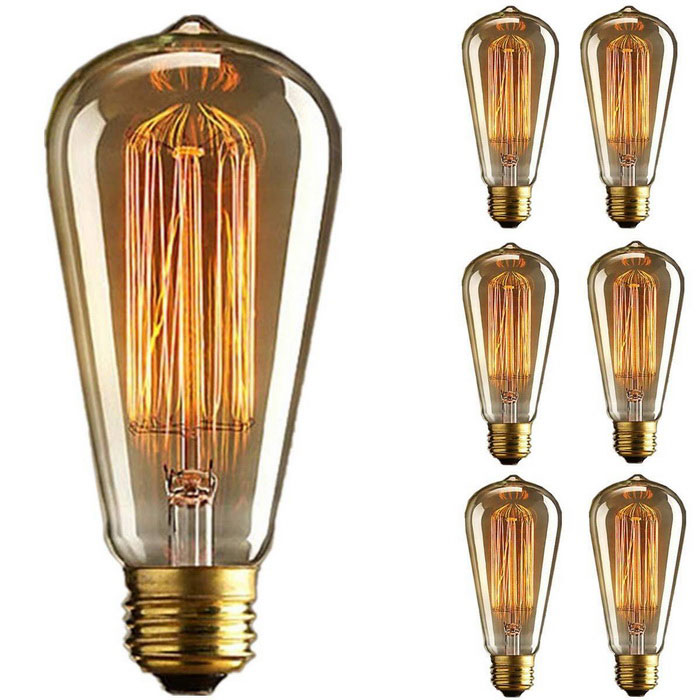 st64 60w vintage dimmable tungsten filament bulb e26 base. Black Bedroom Furniture Sets. Home Design Ideas
