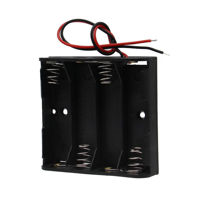 DIY 6V 4-Slot / 4 * AA Battery Holder with Leads - Black