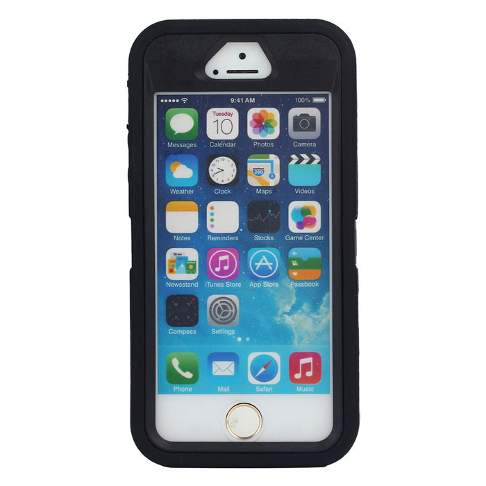 3 in1 Shockproof Combo Phone Case for IPHONE 5S - Black