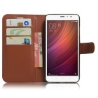 Flip-up PU Leather Wallet Case w/ Card Slots for Redmi Note 4 - Brown