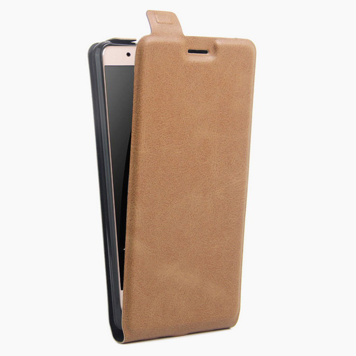 Litchi Grain Up-Down Flip-Open Case for HUAWEI Honor V8 - Brown