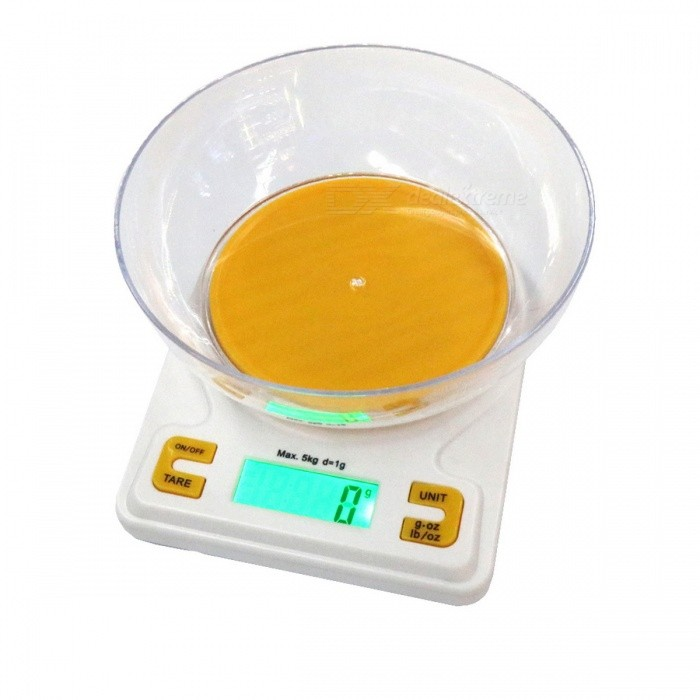 K001A Precise 5kg/1g Kitchen Scale Baking Scale - Yellow + White