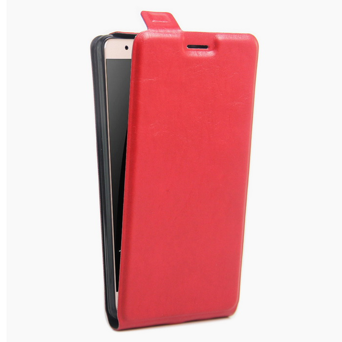 Litchi Pattern Up-Down Flip-Open Case for HUAWEI Honor V8 - Red