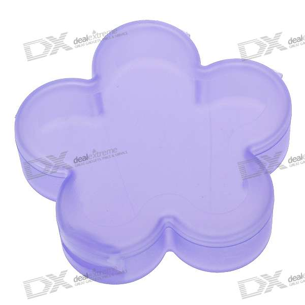 Flower Shaped Medicine Pill Storage Box Case (Purple)