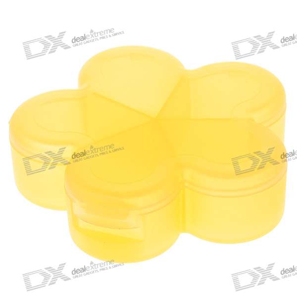 Flower Shaped 5-Section Medicine Pill Storage Box Case (Yellow)